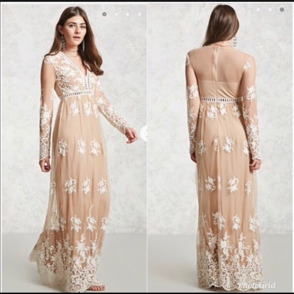Forever 21 Embroidered Lace Maxi Dress Nwt